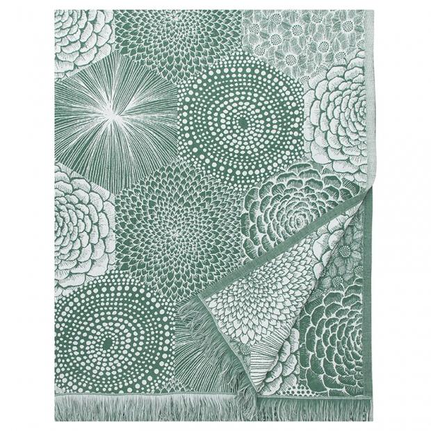 Lněná deka / ubrus Ruut 140x240, zeleno-bílá