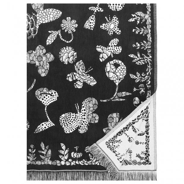 Lněná deka / ubrus Aamos, černo-bílá