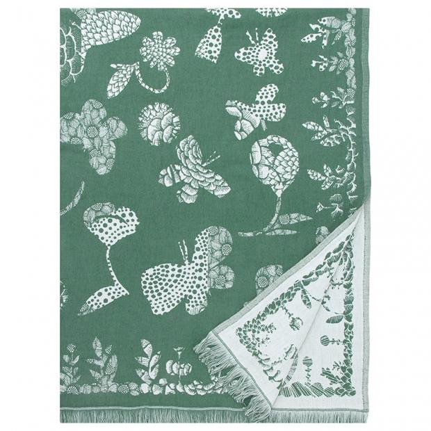 Lněná deka / ubrus Aamos, zeleno-bílá