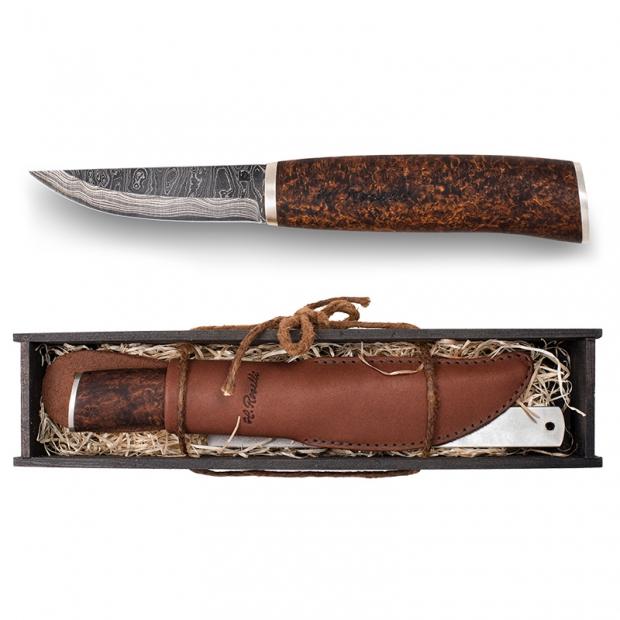 Finský nůž Roselli Damascus 19,5cm, stříbro / dárkový set
