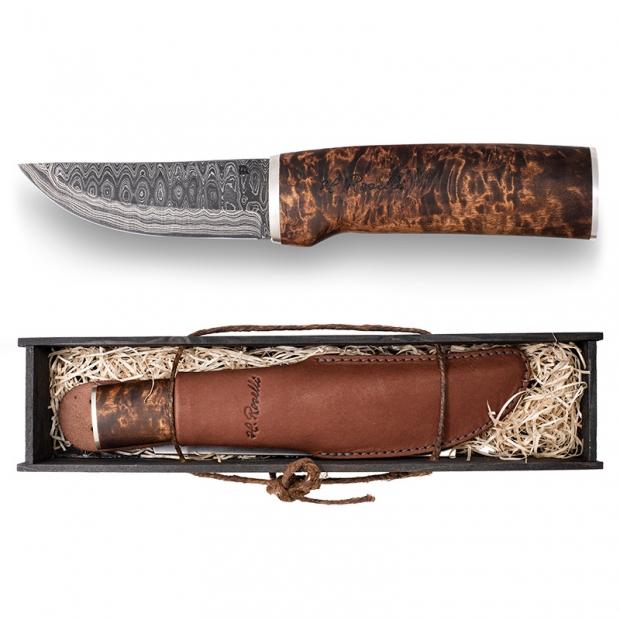 Finský nůž Roselli Damascus 23cm, stříbro / dárkový set