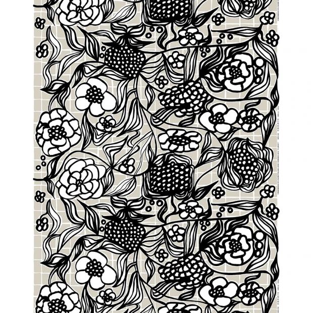 Látka Floristi panama 10m, bavlna / čierno-béžová