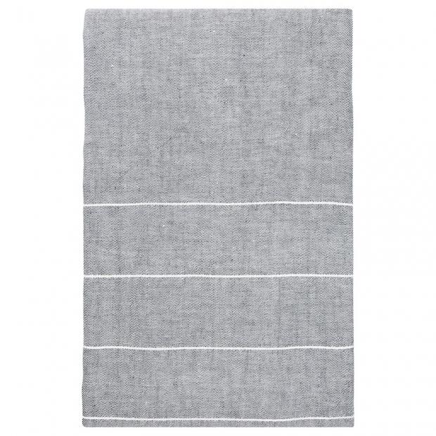 Lněný ubrus Kaste 150x260, šedo-bílý