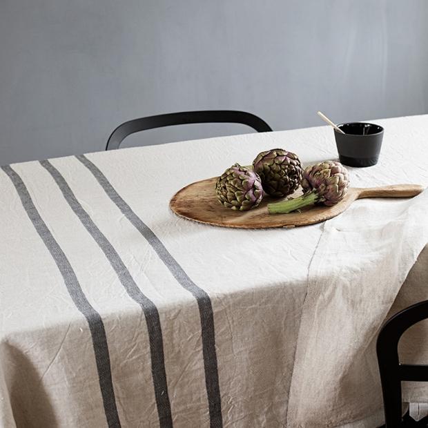 Lněný ubrus / deka Usva 150x260, len-šedý