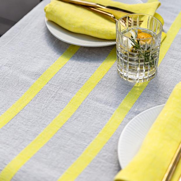 Lněný ubrus / deka Usva 150x260, len-žlutý