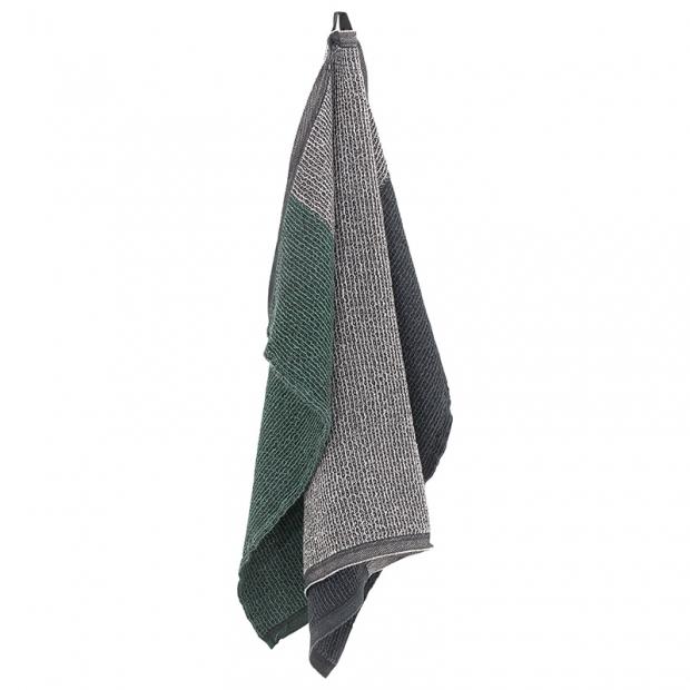 Ručník Terva, černo-šedo-zelený aspen