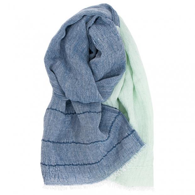 Lněný šál Tsavo, modro-tyrkysový