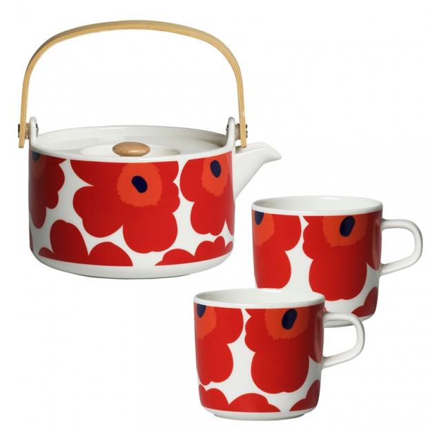 Čajová súprava Oiva Unikko, červená