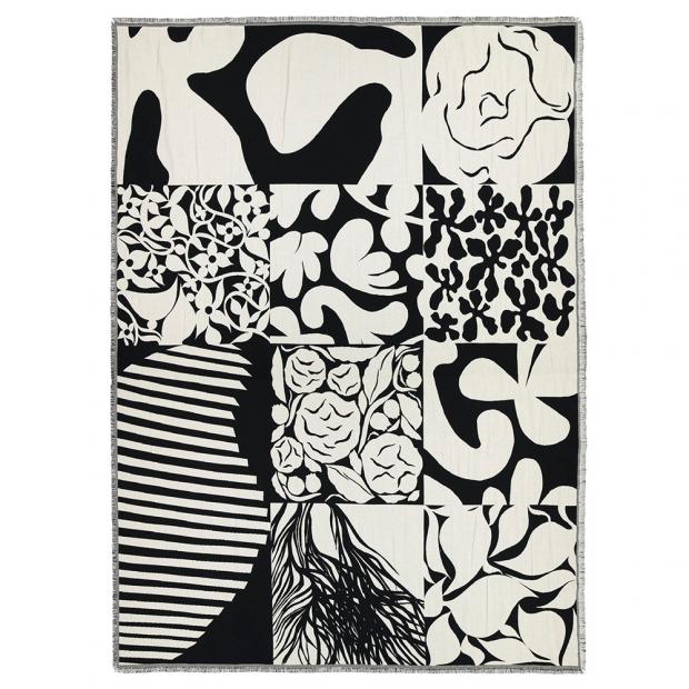 Bavlnená deka Ruudut 130x180, čierno-biela