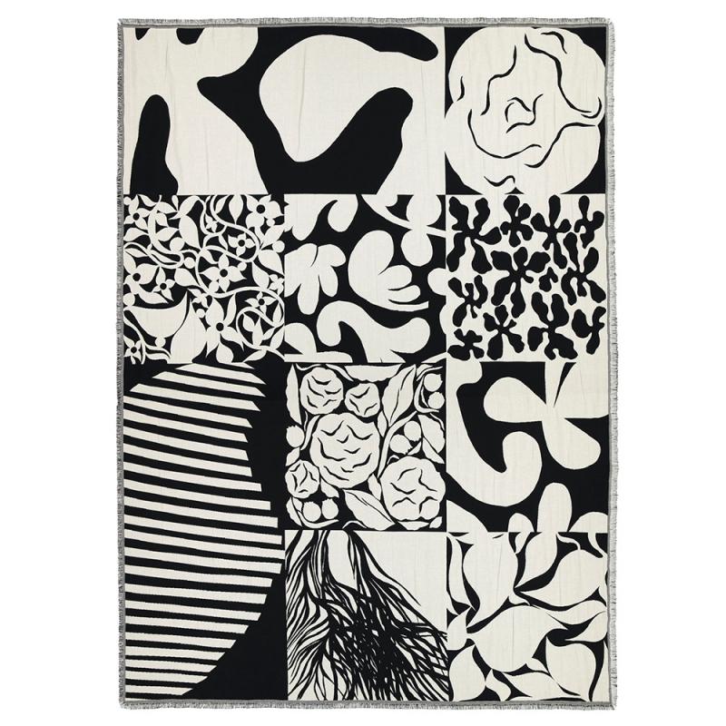 Bavlněná deka Ruudut 130x180, černo-bílá