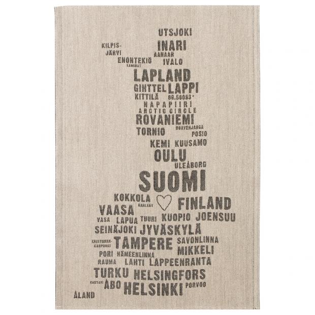 Utěrka My Finland 46x70, len-černá