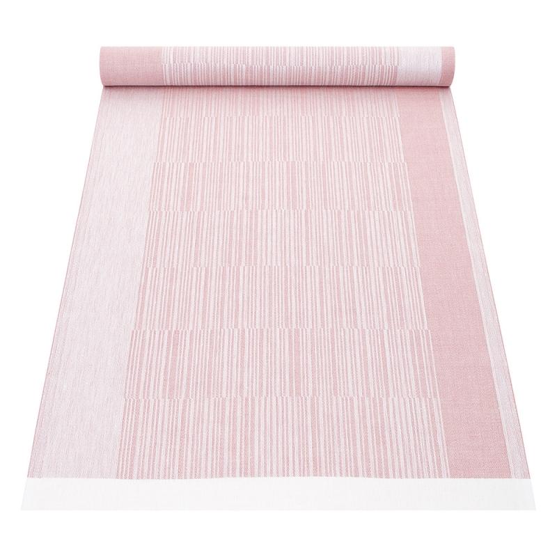 Lněný běhoun Viiva 48x150, růžový