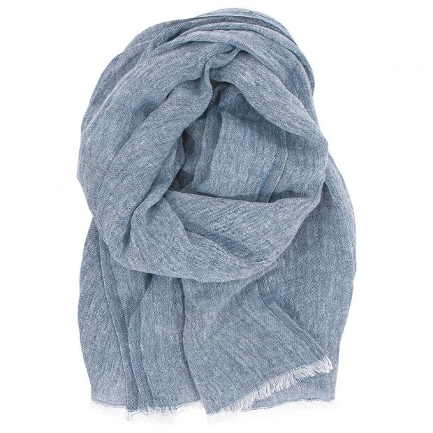 Lněný šál Halaus, borůvkově modrý