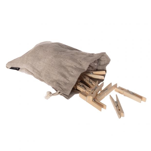 Dřevěné kolíčky na prádlo, 20ks / lněný pytlík