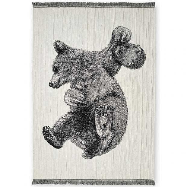 Bavlnená deka Karhu ja Silli 130x170, čierno-biela
