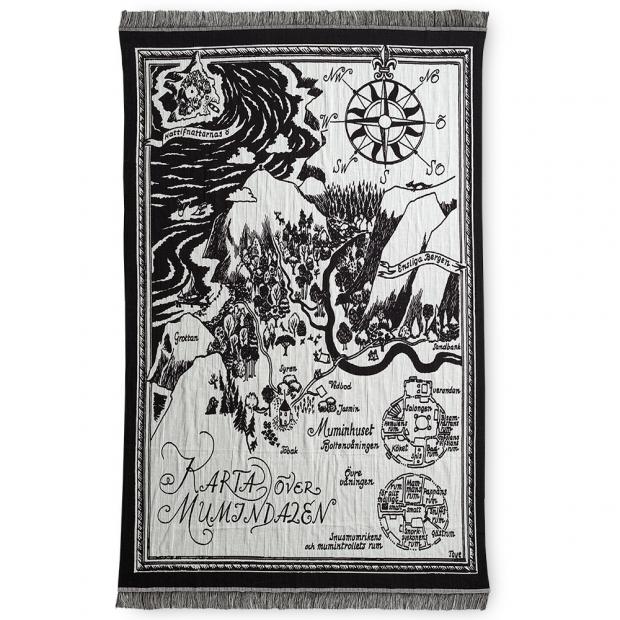 Bavlnená deka Muumikartta 130x180, čierno-biela