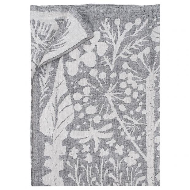 Lněná deka / ubrus Villiyrtit 150x200, len-černá