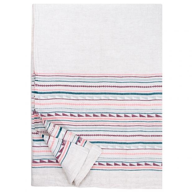 Lněná deka / ubrus Watamu 150x260, šedo-červená