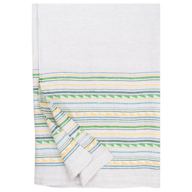 Lněná deka / ubrus Watamu 150x260, žluto-zelená