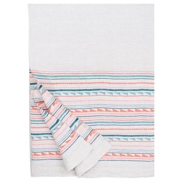Lněná deka / ubrus Watamu 150x260, modro-červená