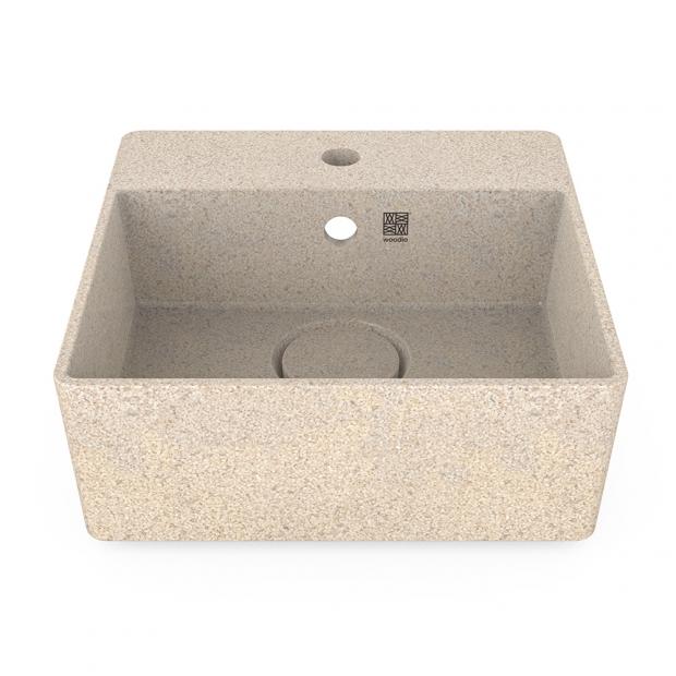 Umývadlo Cube40, biele polar / závesné s otvorom na batériu
