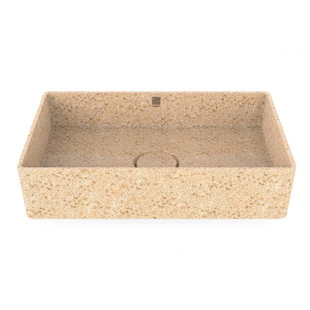 Umyvadlo Cube60, béžové natural / na desku