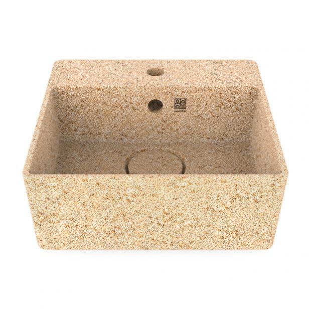 Umývadlo Cube40, béžové natural / na dosku s otvorom na batériu