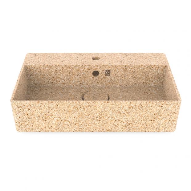 Umývadlo Cube60, béžové natural / na dosku s otvorom na batériu