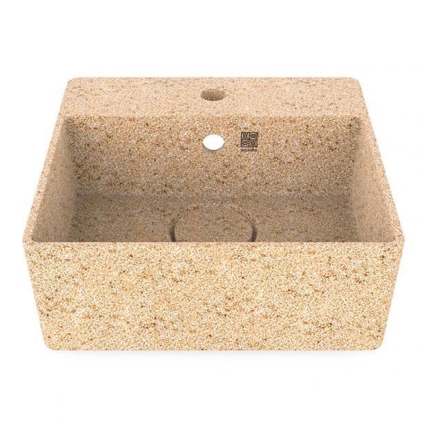 Umývadlo Cube40, béžové natural / závesné s otvorom na batériu