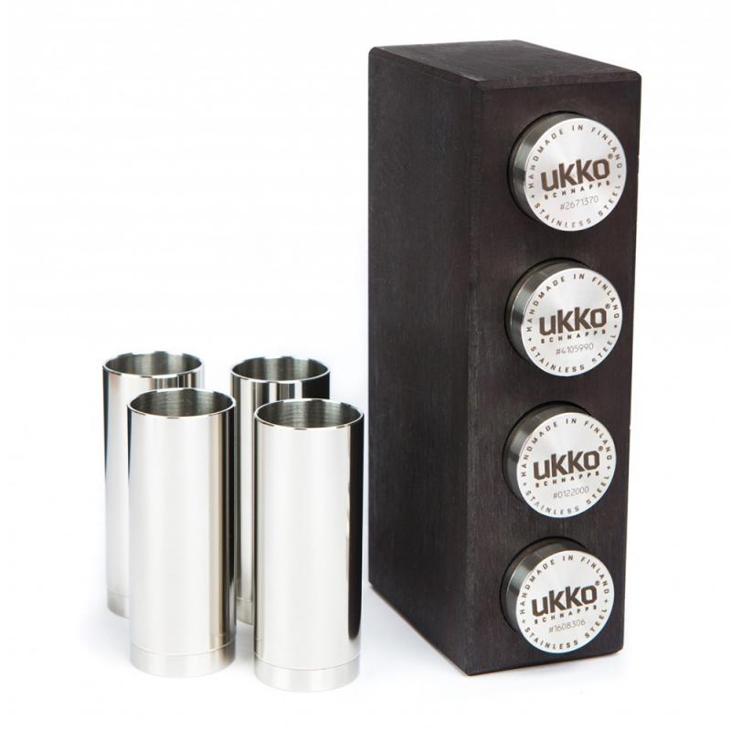Sklenice na panáky Ukko 0,04l, 4ks / stojan z břízy