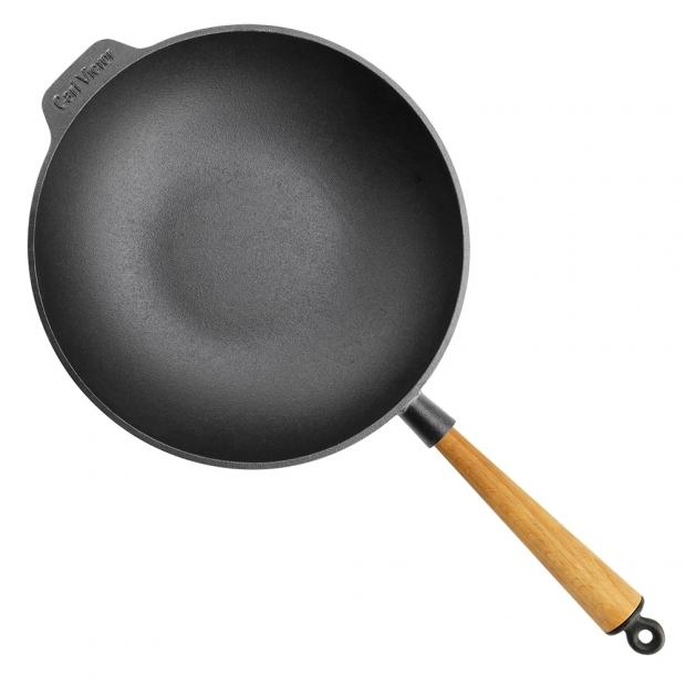 Litinová pánev wok Carl Victor 30cm, světlý buk