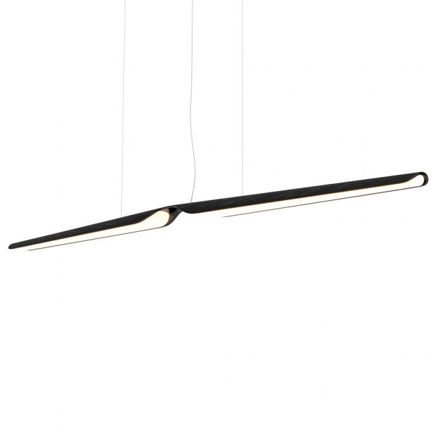 Závesná lampa Swan, dub / čierna