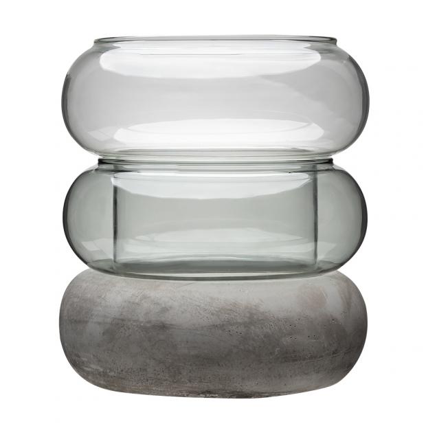 Váza / lucerna Bagel, sivá