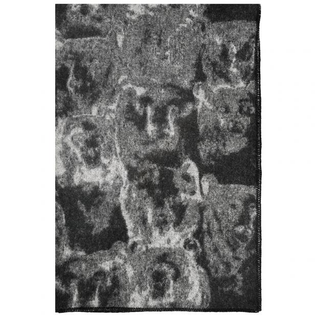 Vlnená deka Otso 130x200, čierno-sivá