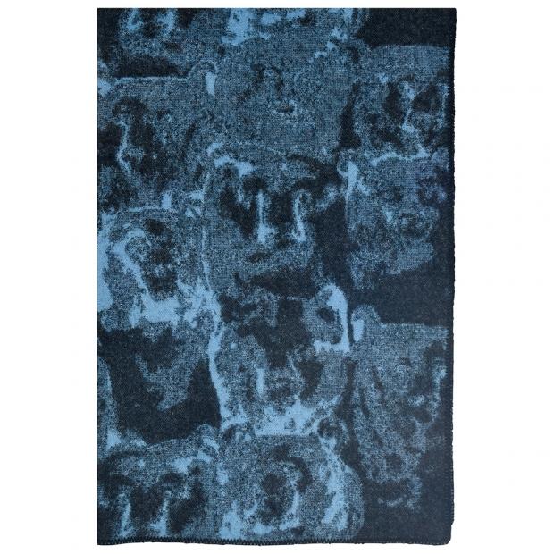 Vlnená deka Otso 130x200, čierno-modrá