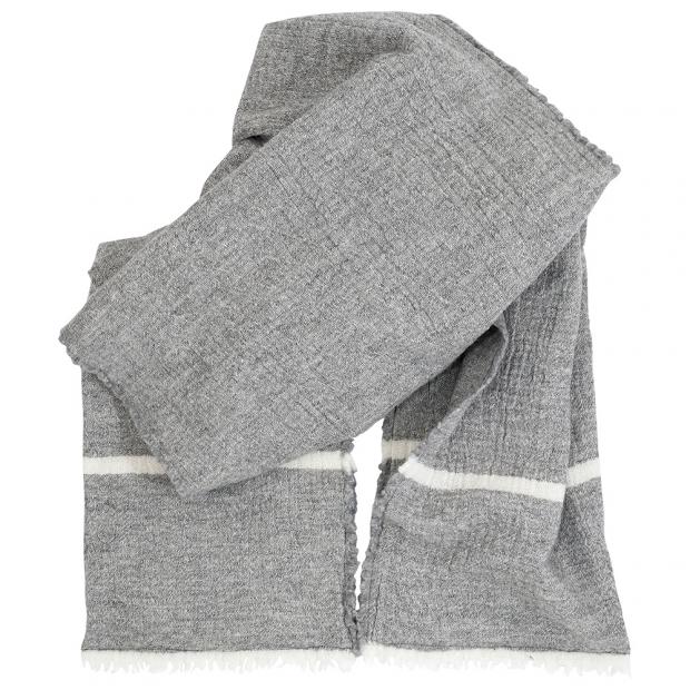 Merino šál Tanhu, s vreckami / svetlo sivo-biely