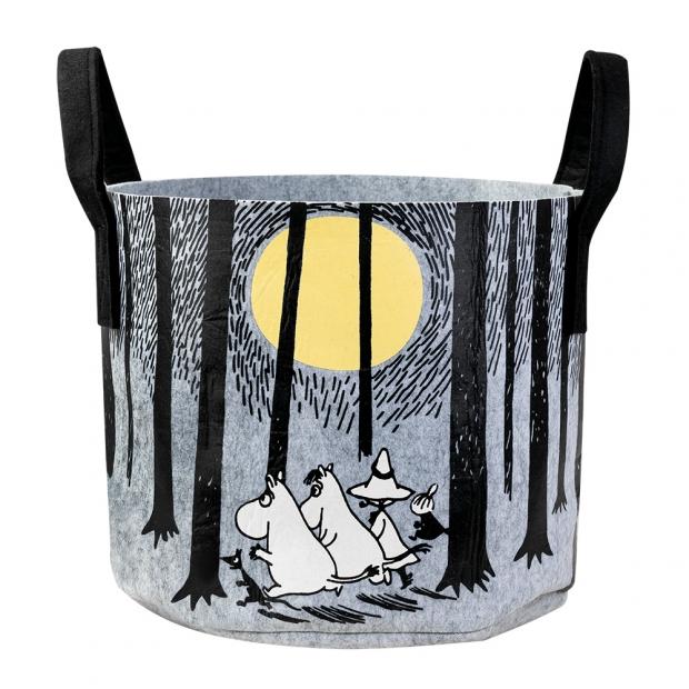 Úložný koš Moomin In the woods 30l, šedo-černý