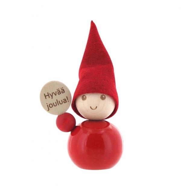 Škriatok Hyvää joulua 9cm, červený