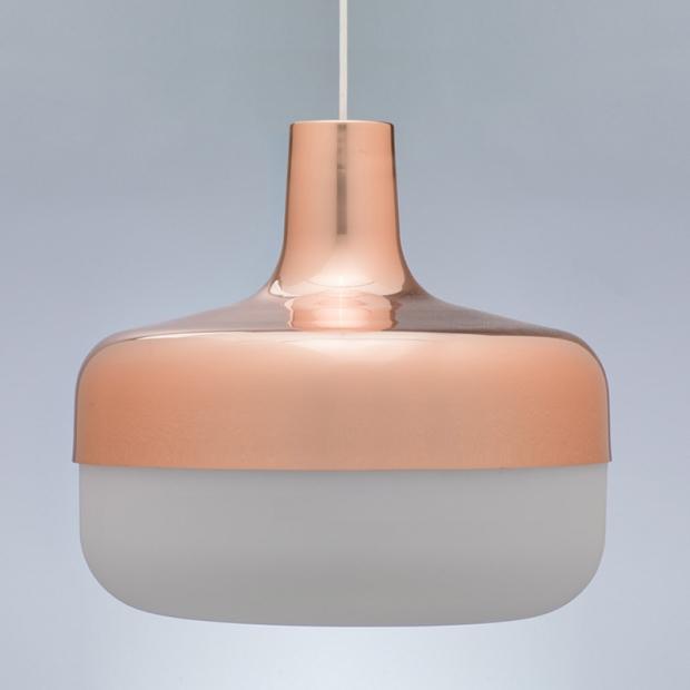 Závěsná lampa Korona, mědená