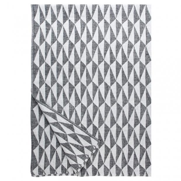 Lněná deka Triano 140x200, černo-bílá