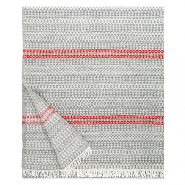 Vlněná deka Aino 130x170, šedo-červená