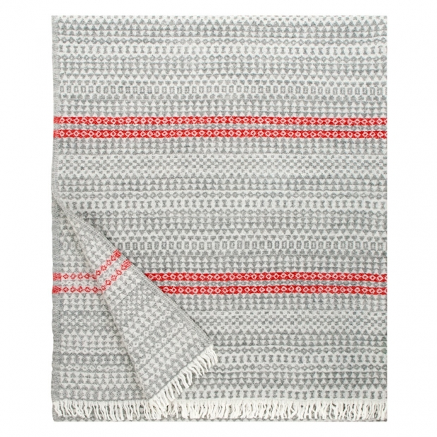 Vlnená deka Aino 130x170, sivo-červená