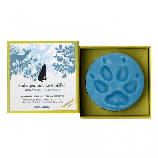 Prírodné mydlo so stopou vĺčaťa 85g, čučoriedka mäta