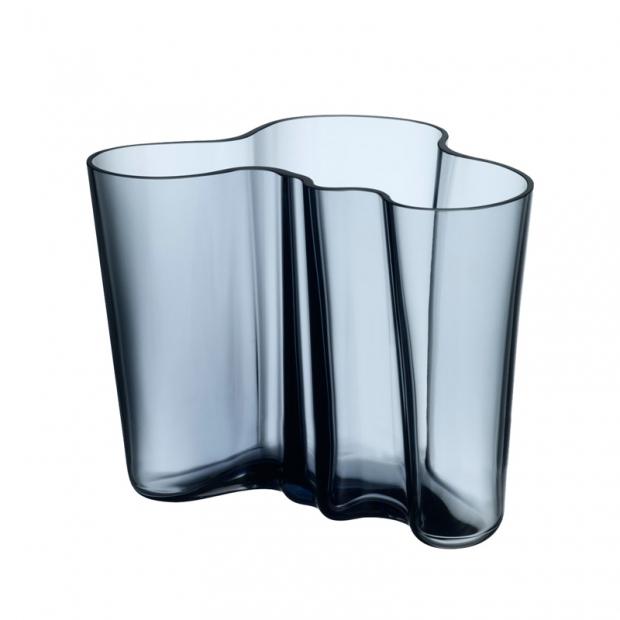 Váza Alvar Aalto 160mm, modrá rain