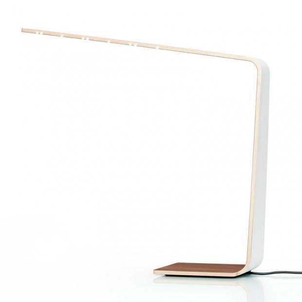 Stolní lampa LED4, bílá / dub
