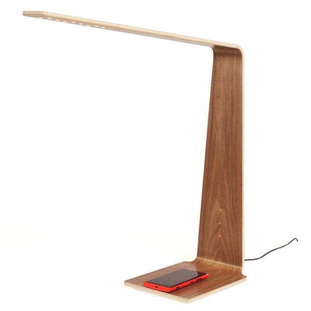 Stolná lampa LED8 Qi, orech
