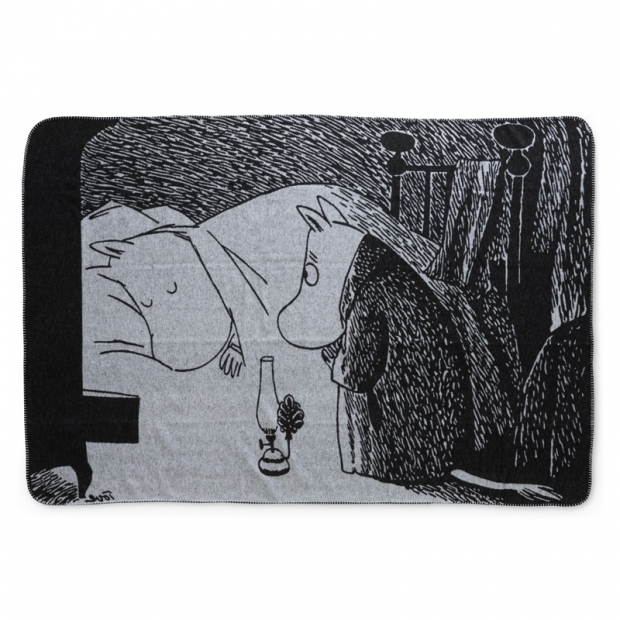 Bavlněná deka Moomin Night 120x180, černo-bílá
