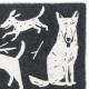 Vlnená deka Koirapuisto 130x180, čierno-biela