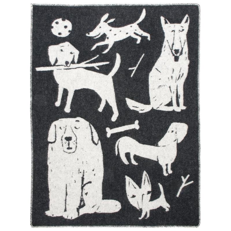 Vlněná deka Koirapuisto 130x180, černo-bílá