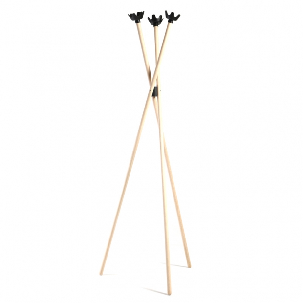 Stojanový vešiak Tripla 3, breza / čierne háčiky